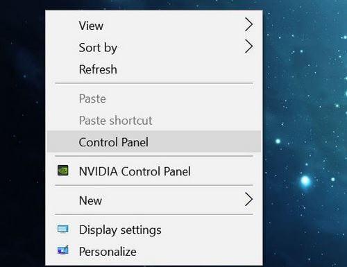 cách thêm control panel vào menu chuột phải trên win 10