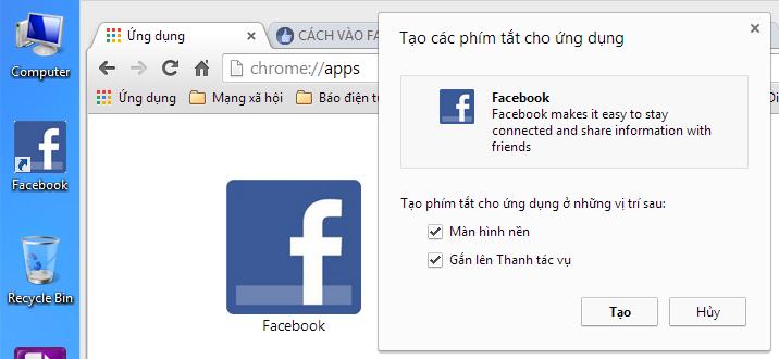 Hướng dẫn tạo biểu tượng Facebook trên màn hình máy tính 1